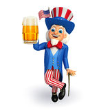 Illustration of Uncle Sam with beer glass Royalty Free Stock Image