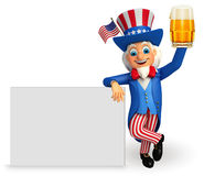 Illustration of Uncle Sam with beer glass and sign Stock Photos