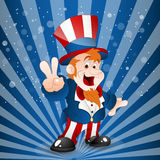 Illustration of Uncle Sam. Cute Happy Cartoon Kid Uncle Sam Showing Victory Sign Fingers Vector Illustration royalty free illustration