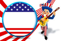 Illustration of uncle sam with gitar Stock Photos