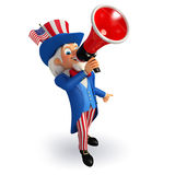 Illustration of Uncle Sam with loudspeaker Royalty Free Stock Photo