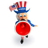 Illustration of Uncle Sam with loudspeaker Royalty Free Stock Image