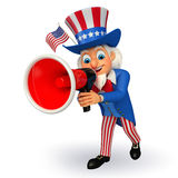 Illustration of Uncle Sam with loudspeaker Stock Photos