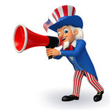 Illustration of Uncle Sam with loudspeaker Stock Photography
