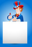 Illustration of Uncle Sam with Paper Banner Royalty Free Stock Image