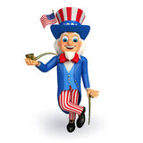 Illustration of Uncle Sam with smoking pipe Stock Image