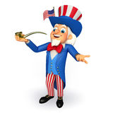 Illustration of Uncle Sam with smoking pipe Stock Photography