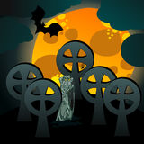 Illustration of undead rising from the grave. Vector hand drawn style Halloween illustration with undead rising from the grave in front of the full Moon Royalty Free Stock Photography