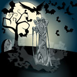 Illustration of undead zombie rising from the grave. Vector hand drawn style Halloween illustration with undead zombie rising from the grave in front of the full Royalty Free Stock Image