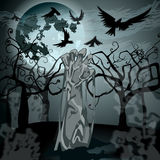 Illustration of undead zombie rising from the grave. Vector hand drawn style Halloween illustration with undead zombie rising from the grave in front of the full Stock Photo