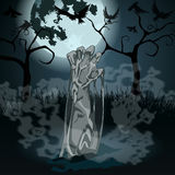 Illustration of undead zombie rising from the grave. Vector hand drawn style Halloween illustration with undead zombie rising from the grave in front of the full Royalty Free Stock Photo