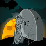 Illustration of undead zombie rising from the grave. Vector hand drawn style Halloween illustration with undead zombie rising from the grave in front of the full Royalty Free Stock Images