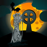 Illustration of undead zombie rising from the grave. Vector hand drawn style Halloween illustration with undead zombie rising from the grave in front of the full Stock Image