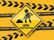 Under construction road sign work in progress Stock Image