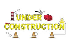 Illustration of under construction wording concept. stock illustration