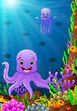 Illustration of under the sea. Illustration of octopus under the sea Stock Images
