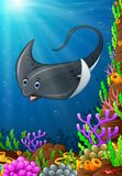 Illustration of under the sea. Illustration of stingray under the sea Stock Images