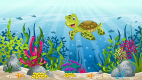 Illustration of underwater landscape Stock Photos
