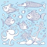 Illustration of underwater life. Stock Photo