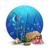 Illustration of underwater rocks with seahorse and crab Stock Photo
