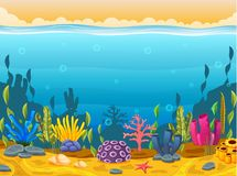 Underwater scene with tropical coral reef. Illustration of Underwater scene with tropical coral reef Stock Photography