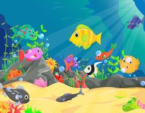 Illustration of underwater world with corals and tropical fish Royalty Free Stock Photo