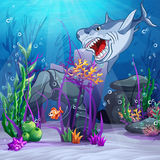 Illustration of the underwater world and the evil shark Stock Photography