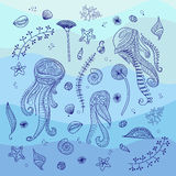 Illustration of the underwater world. Hand drawn vector illustration marine life. Underwater world background Stock Images