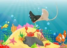 Illustration of Underwater world with reefs and tropical fishes. Vector illustration of Underwater world with reefs and tropical fishes Stock Photo