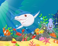 Illustration of Underwater world with reefs and tropical fishes Royalty Free Stock Photography