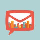 Illustration : une grande ville dans le courrier de bulle illustration stock
