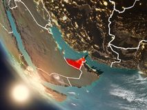 Sunset above United Arab Emirates from space. Illustration of United Arab Emirates as seen from Earth's orbit during sunset with visible country borders. 3D Royalty Free Stock Images