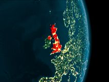 United Kingdom at night. Illustration of United Kingdom as seen from Earth's orbit at night. 3D illustration. Elements of this image furnished by NASA Stock Image