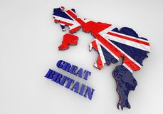 Illustration of United Kingdom map with as Flag. 3D Illustration of United Kingdom map with as Flag Royalty Free Stock Image