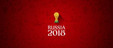 Russia 2018 World Cup banner red. Illustration of an unofficial Russia Football World Cup 2018 banner background in a red Russian themed pattern with white Stock Photo
