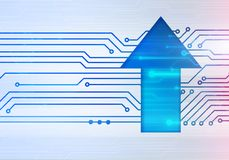 Illustration of up arrow on circuit microchip background Royalty Free Stock Photos