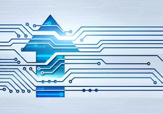 Illustration of up arrow on circuit microchip background Royalty Free Stock Photo