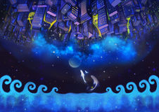 Illustration: The Upside Down City Buildings in the Starry Night with Flying Fish. A Good Wish Card appropriate for any event. Fantastic Cartoon Style Stock Photography