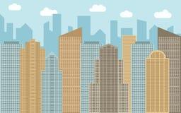 Illustration urbaine de paysage de vecteur Vue de rue avec le paysage urbain, les gratte-ciel et les bâtiments modernes Photographie stock