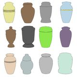 Illustration of urns set Stock Photography