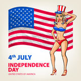 Illustration of a US pin girl, fourth of July celebrating Independence Day Vector Poster. 4th of July Lettering. American Red Flag Royalty Free Stock Images