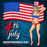 Illustration of a US pin girl, fourth of July celebrating Independence Day Vector Poster. 4th of July Lettering. American Red Flag Royalty Free Stock Photos