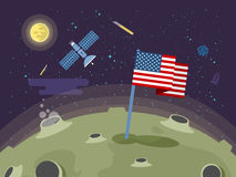 Illustration of the USA flag stuck into the moon surface in a flat style. Stock vector illustration of the United States of America flag stuck into the moon Royalty Free Stock Photography