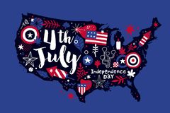 Illustration of USA map with abstract floral and patriotic elements. 4 July Independence Day template. Useful for prints, posters and advertising Stock Illustration