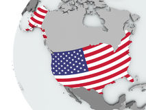 USA on globe with flag Royalty Free Stock Images