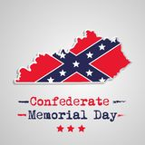 Illustration of USA State Kentucky Confederate Memorial Day background. With map and flag Stock Image