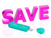 Illustration of a USB with save text. 3d rendered  illustration of a usb with save text Royalty Free Stock Photography