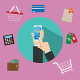 Illustration of using online mobile   shopping services. Put on the floor of the desk   There are devices involved in the business. Illustration of using online Stock Photography