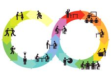 Business teams and networking. Illustration using overlapping circles of two business teams one with ideas and creativity  networking or meshing with another Stock Images