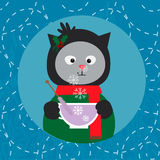 Illustration with сute cat with cup of tea Stock Photo